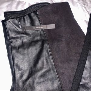 NWT/ Zara W&B coll- front leather half suede pants